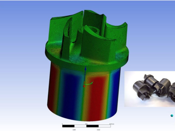 Rotormagnet und simulierte Verteilung der radialen Polarisationskomponente